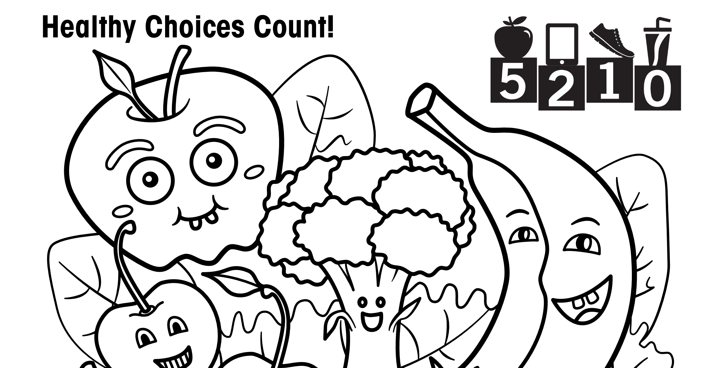 Free printables: 5-2-1-0 activity sheets and coloring pages